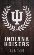 """Indiana Hoosiers 11"""" x 19"""" Laurel Wreath Sign"""