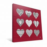 "Indiana Hoosiers 12"" x 12"" Hearts Canvas Print"