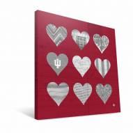 "Indiana Hoosiers 12"" x 12"" Hearts Canvas Print"
