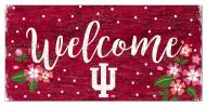 """Indiana Hoosiers 6"""" x 12"""" Floral Welcome Sign"""