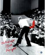 Indiana Hoosiers Bob Knight Signed Throwing Chair B&W w/ Red Chair 8 x 10 Photo w/ The Ref Left