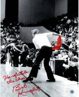 Indiana Hoosiers Bob Knight Signed Throwing Chair B&W w/ Red Chair 8 x 10 Photo w/ The Ref Stole The Chair
