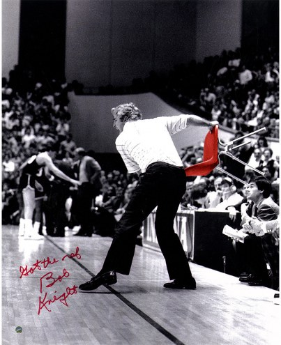 """Indiana Hoosiers Bob Knight Throwing Red Chair w/ """"Got the Ref"""" Signed 16"""" x 20"""" Photo"""
