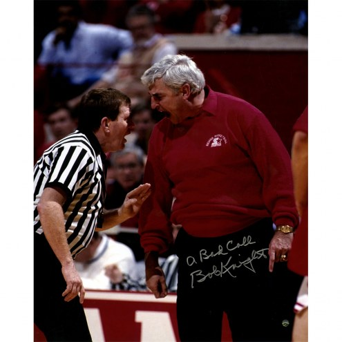 "Indiana Hoosiers Bob Knight Yelling At Referee w/ ""A Bad Call"" Signed 16"" x 20"" Photo"