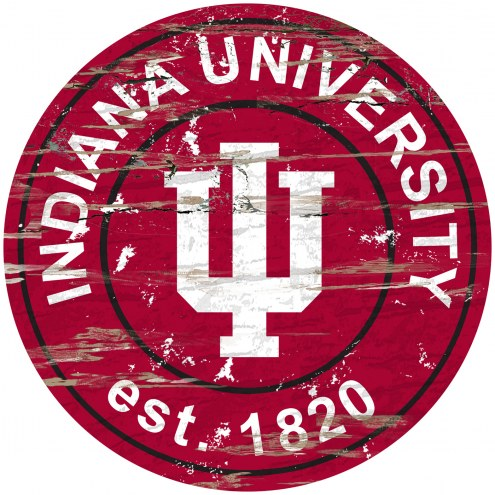 Indiana Hoosiers Distressed Round Sign