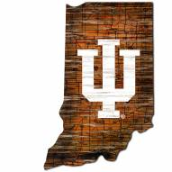 Indiana Hoosiers Distressed State with Logo Sign
