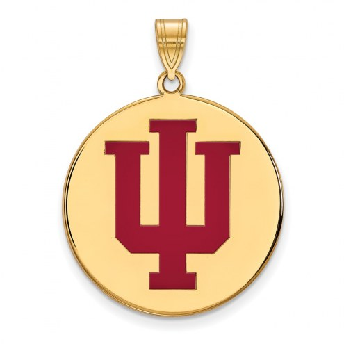 Indiana Hoosiers Sterling Silver Gold Plated Extra Large Enameled Disc Pendant