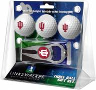 Indiana Hoosiers Golf Ball Gift Pack with Hat Trick Divot Tool
