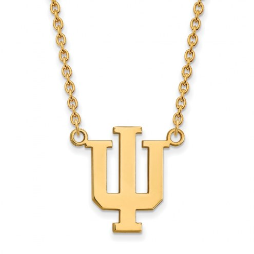 Indiana Hoosiers NCAA Sterling Silver Gold Plated Large Pendant Necklace