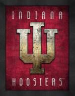 Indiana Hoosiers Retro Logo Map Framed Print