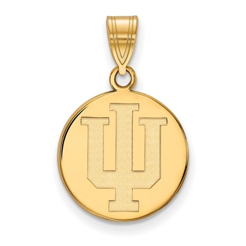 Indiana Hoosiers Sterling Silver Gold Plated Medium Disc Pendant