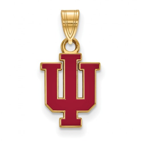 Indiana Hoosiers Sterling Silver Gold Plated Small Enameled Pendant