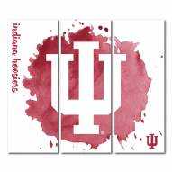 Indiana Hoosiers Triptych Watercolor Canvas Wall Art