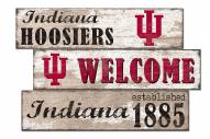 Indiana Hoosiers Welcome 3 Plank Sign