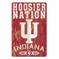 Indiana Hoosiers Slogan Wood Sign