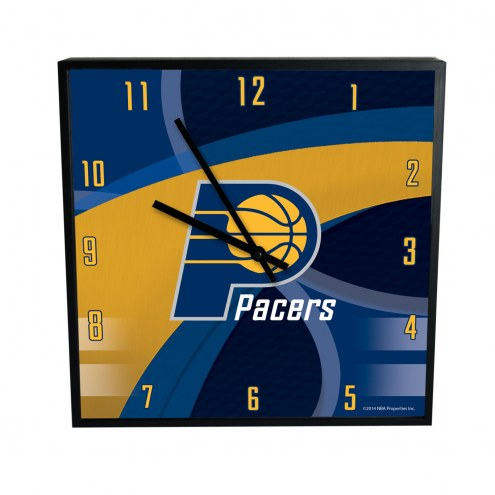 Indiana Pacers Carbon Fiber Square Clock