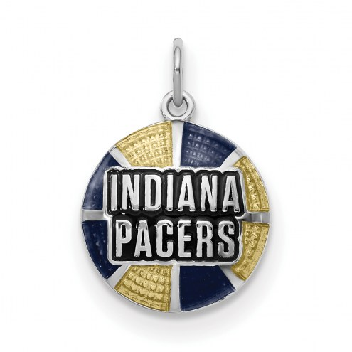 Indiana Pacers Sterling Silver Enameled Basketball Pendant