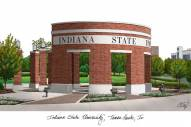 Indiana State Sycamores Campus Images Lithograph