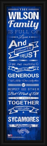 Indiana State Sycamores Personalized Family Cheer Framed Art