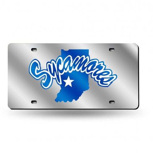 Indiana State Sycamores Silver Laser License Plate