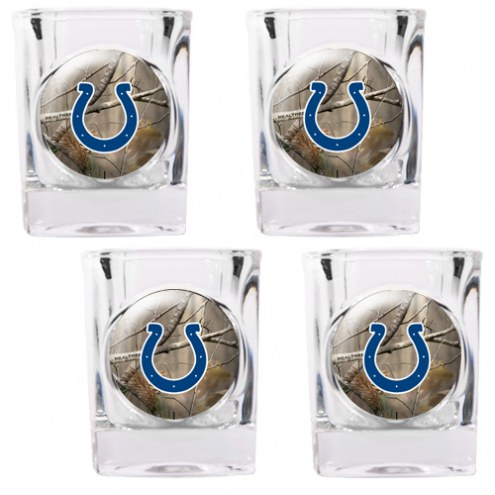 Indianapolis Colts Open Field 4-Piece RealTree Square Shot Glass Set