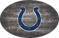 """Indianapolis Colts 46"""" Distressed Wood Oval Sign"""