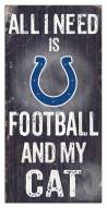 """Indianapolis Colts 6"""" x 12"""" Football & My Cat Sign"""