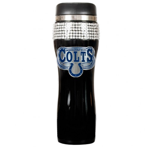 Indianapolis Colts Black Stainless Steel Bling Travel Tumbler