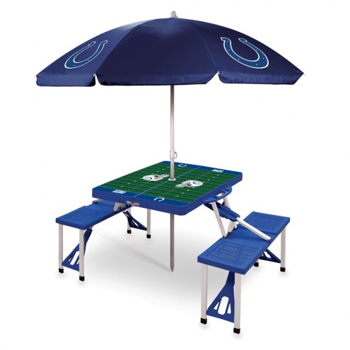 Indianapolis Colts Blue Picnic Table w/Umbrella