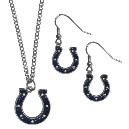 Indianapolis Colts Dangle Earrings & Chain Necklace Set