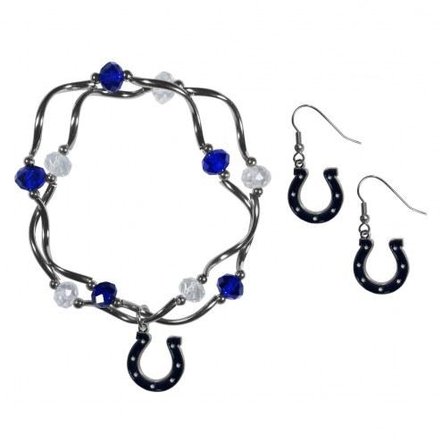 Indianapolis Colts Dangle Earrings & Crystal Bead Bracelet Set