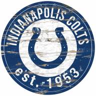 Indianapolis Colts Distressed Round Sign