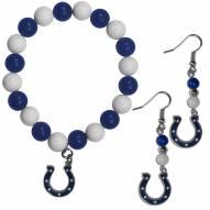 Indianapolis Colts Fan Bead Earrings & Bracelet Set