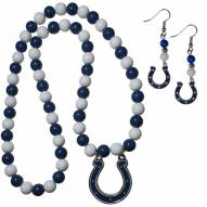 Indianapolis Colts Fan Bead Earrings & Necklace Set