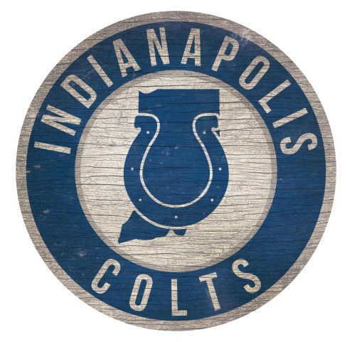 Indianapolis Colts Round State Wood Sign