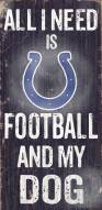 Indianapolis Colts Football & Dog Wood Sign