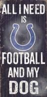 Indianapolis Colts Football & Dog Wood Sign