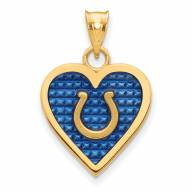 Indianapolis Colts Gold Plated Enameled Heart Pendant