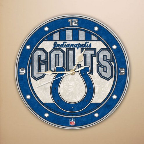 Indianapolis Colts NFL Stained Glass Wall Clock
