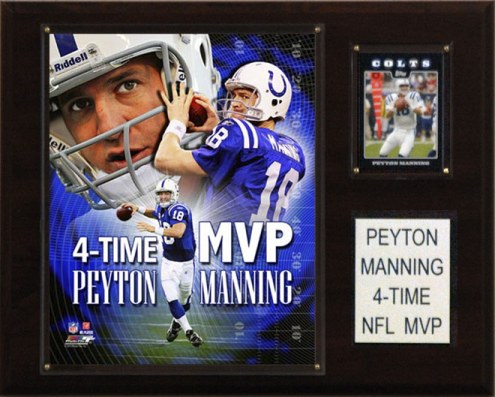 "Indianapolis Colts Peyton Manning 4 Time MVP 12 x 15"" Player Plaque"