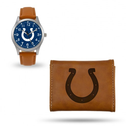 Indianapolis Colts Sparo Brown Watch & Wallet Gift Set