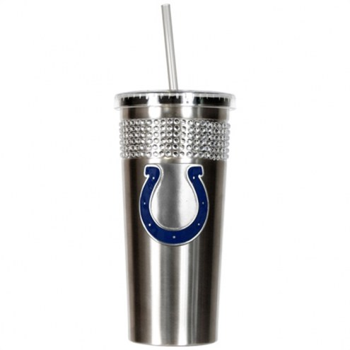 Indianapolis Colts Stainless Steel Bling Tumbler with Straw