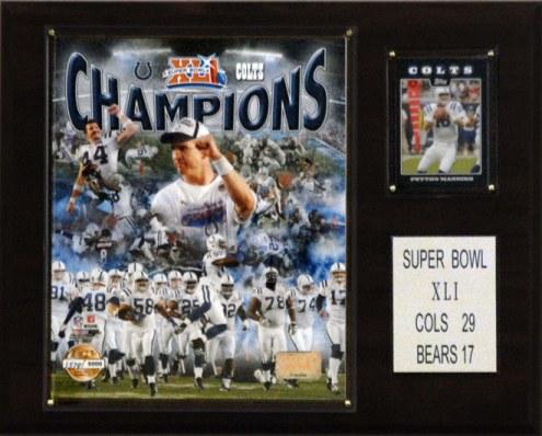 """Indianapolis Colts 12"""" x 15"""" Super Bowl XLI Champions Gold Plaque"""