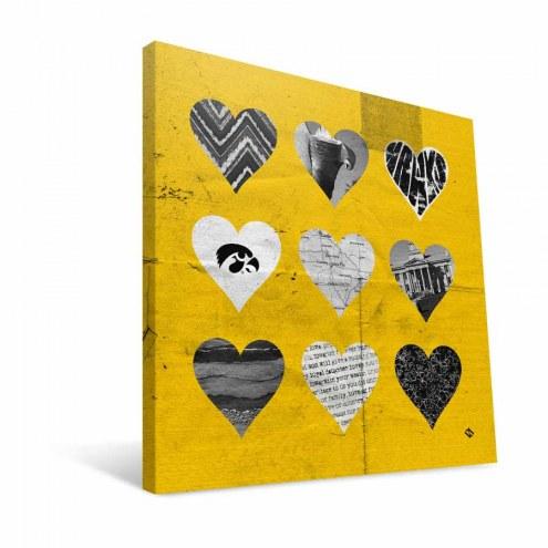 "Iowa Hawkeyes 12"" x 12"" Hearts Canvas Print"