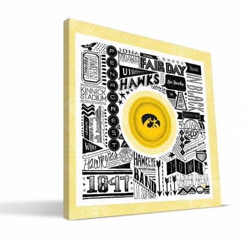 "Iowa Hawkeyes 16"" x 16"" Pictograph Canvas Print"