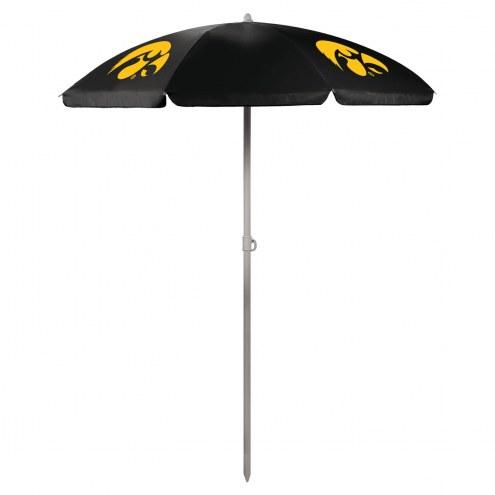 Iowa Hawkeyes Black Beach Umbrella
