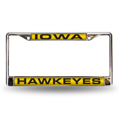 Iowa Hawkeyes Black Laser Chrome License Plate Frame