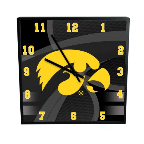 Iowa Hawkeyes Carbon Fiber Square Clock