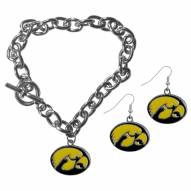 Iowa Hawkeyes Chain Bracelet & Dangle Earring Set