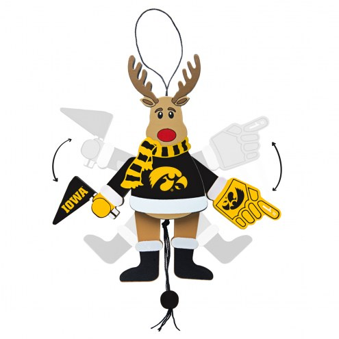 Iowa Hawkeyes Cheering Reindeer Ornament